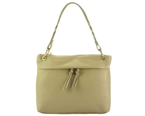 light taupe womans bag in real leather Joita from italy