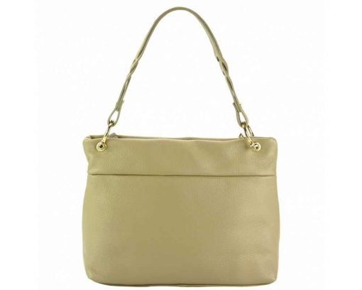light taupe womans bag in natural leather Joita from italy