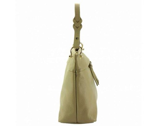 light taupe womans bag in genuine leather Joita from italy