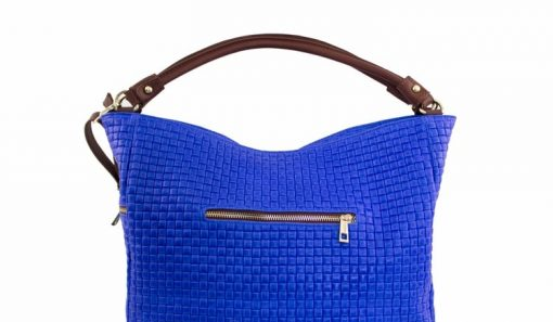 electric blue bag printed suede genuine leather Tullia woman
