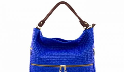 electric blue bag printed suede leather Tullia women