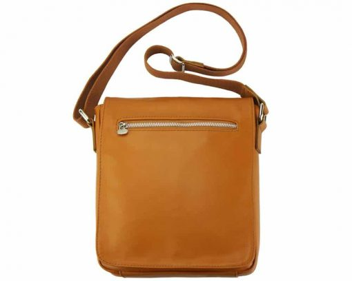 tan messenger bag in natural leather Janina for men