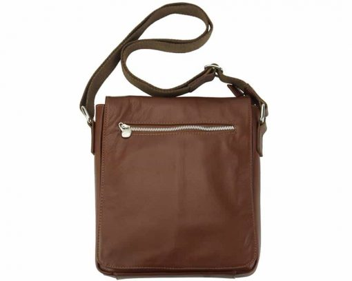 brown messenger bag in natural leather Janina for men