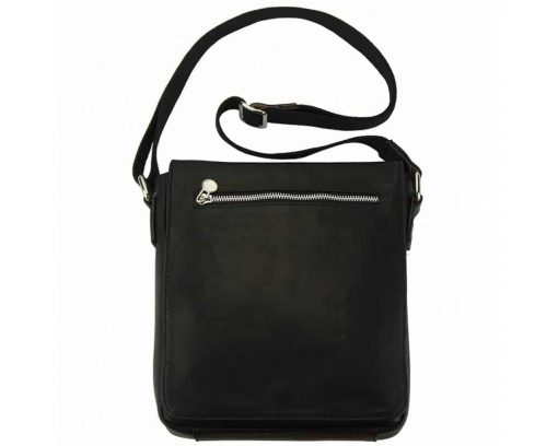 black messenger bag in natural leather Janina for women