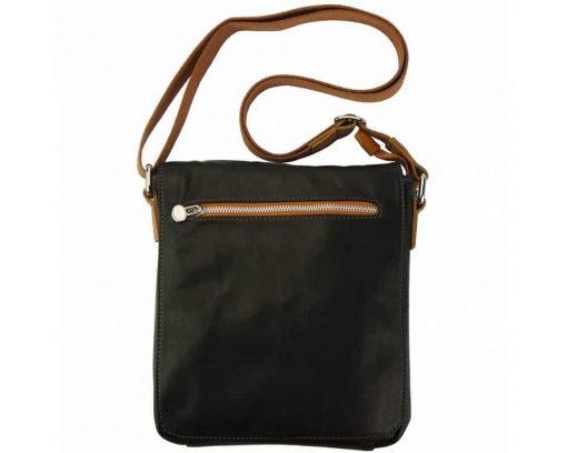 dark brown tan messenger bag in natural leather Janina for women