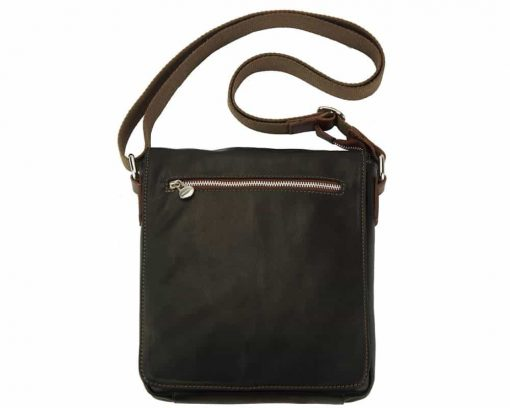 dark brown messenger bag in natural leather Janina for men