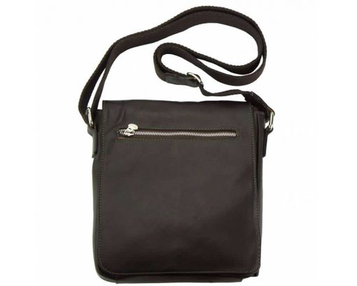 dark brown messenger bag in genuine leather Janina for men
