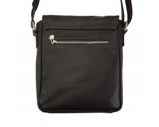 dark brown messenger bag in leather Janina for men