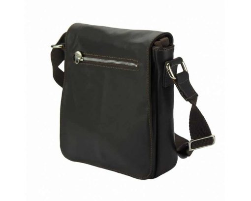 black messenger bag in leather Janina for men