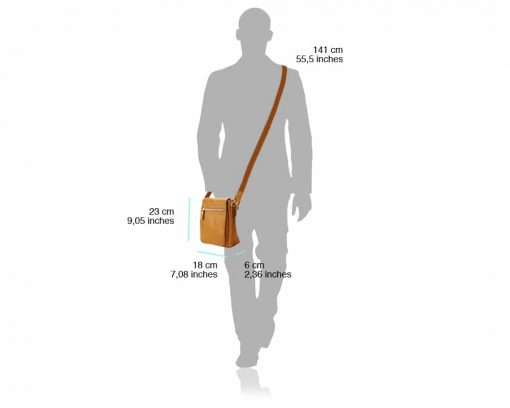 tan colormessenger for man in soft leather from italy