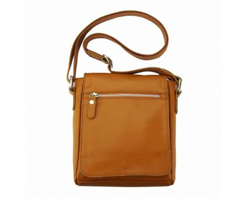 tan mans cross body bag in natural leather Julia from italy