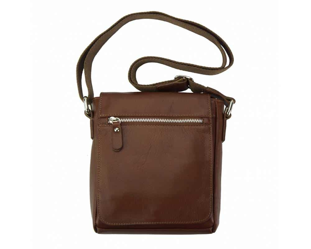 brown mans cross body bag in natural leather Julia from italy