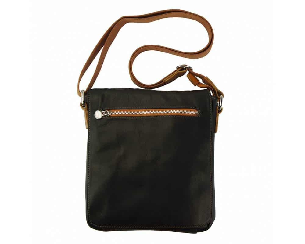 dark brown tan mans cross body bag in natural leather Julia from italy