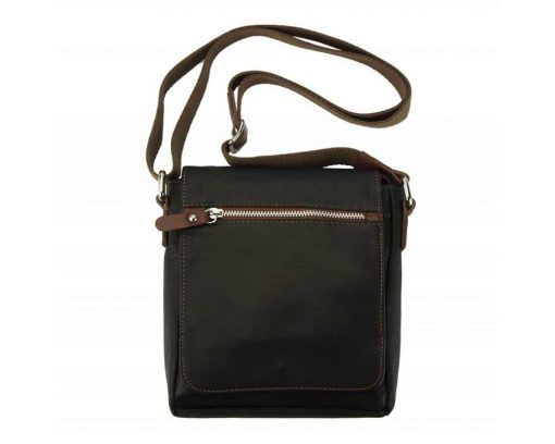 dark brown mans cross body bag in natural leather Julia from italy