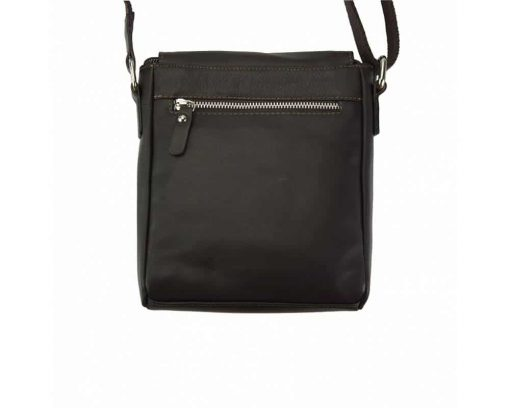 dark brown mans cross body bag in leather Julia from italy