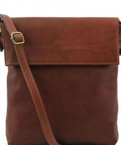 brown cross body bag in genuine leather Gianino photo buy for men from italy