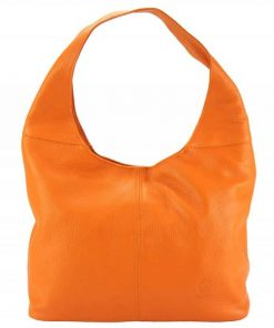 orange color shoulder bag in natural leather Fevronia for women