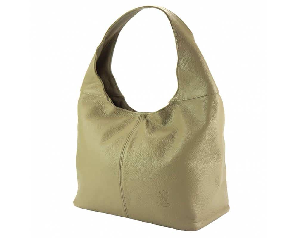 light taupe shoulder bag in leather for woman from italy