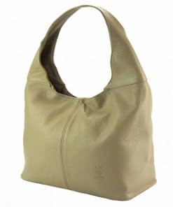 light taupe shoulder bag in real leather for woman from italy