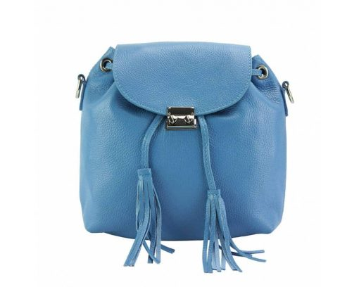 cyan backpack from soft leather from italy