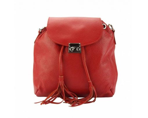 red purse in real leather Eufrozina for women