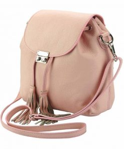 pink color backpack small from italy for woman