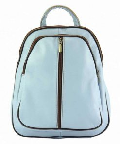 light cyan brown backpack Dochia from italy in genuine leather for woman