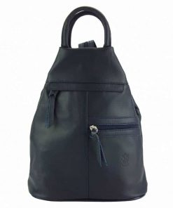 dark blue backpack in real leather Sorina for woman