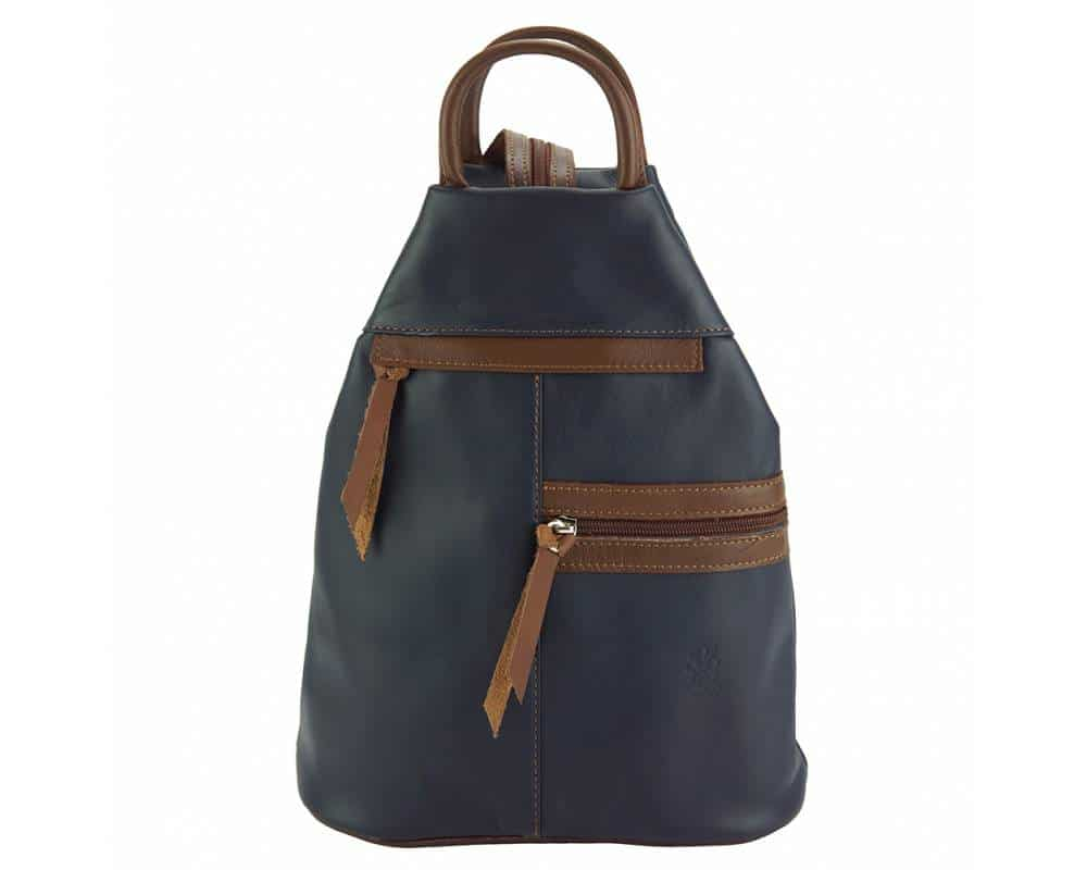 dark blue dark brown backpack in real leather Sorina for woman