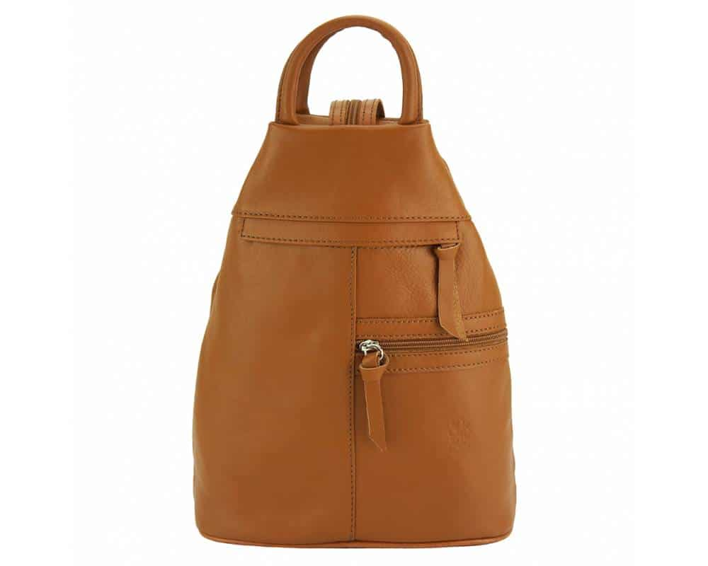 tan backpack in real leather Sorina for woman