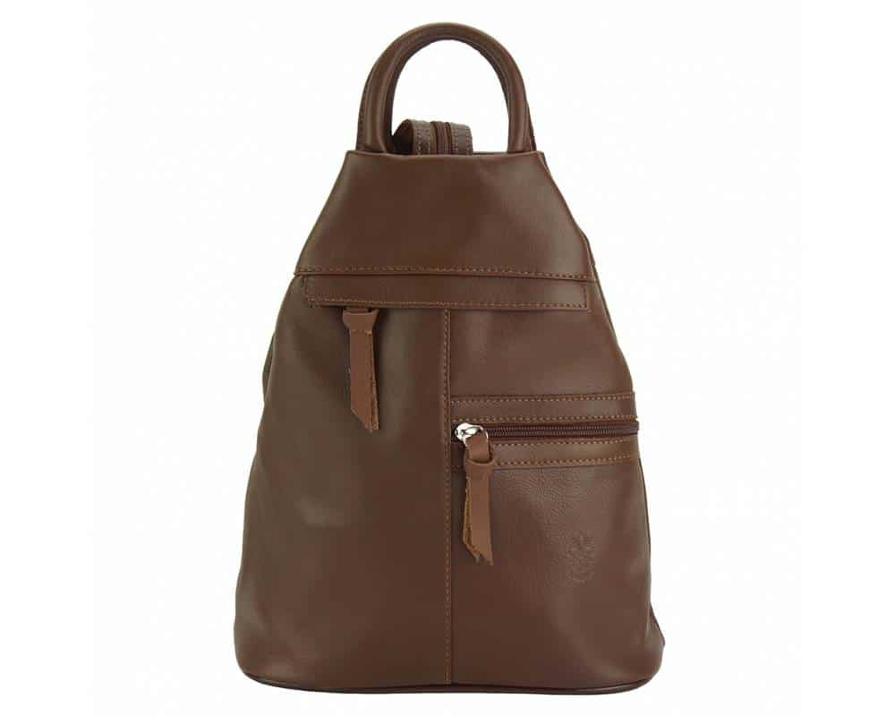 dark brown backpack in real leather Sorina for woman