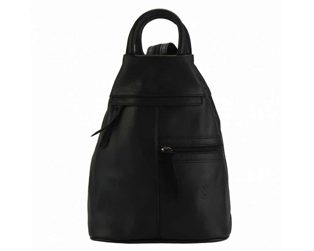 black backpack in real leather Sorina for woman