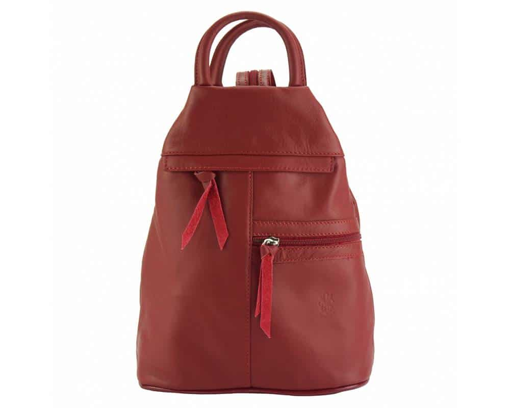 red backpack in real leather Sorina for woman