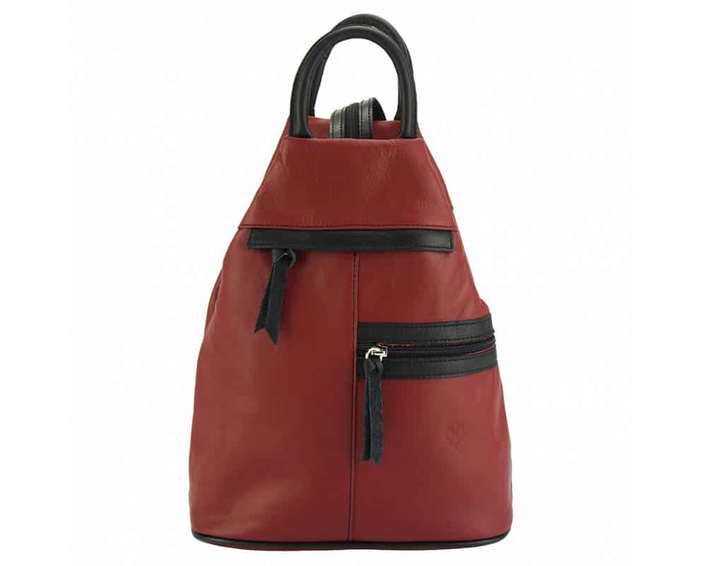 dark red black backpack in real leather Sorina for woman
