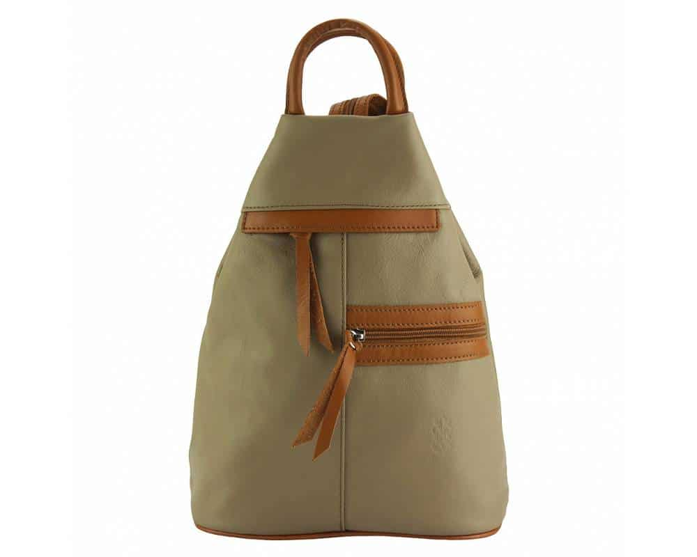 light taupe tan backpack in real leather Sorina for woman
