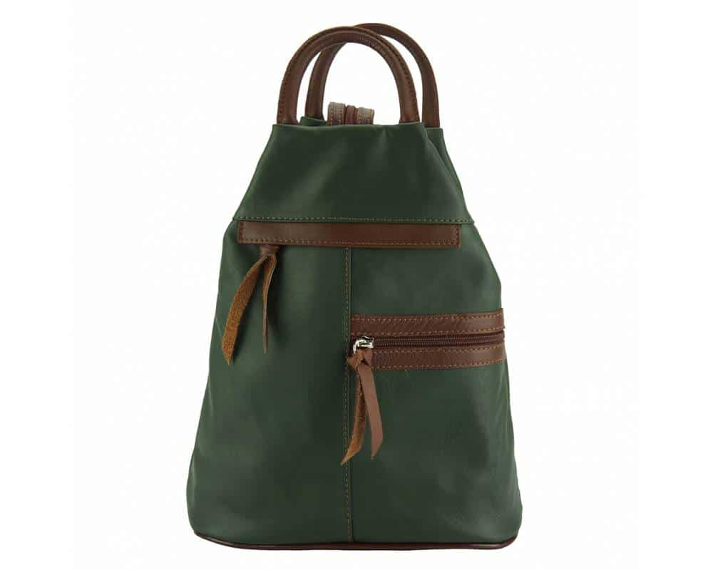dark green brown backpack in real leather Sorina for woman