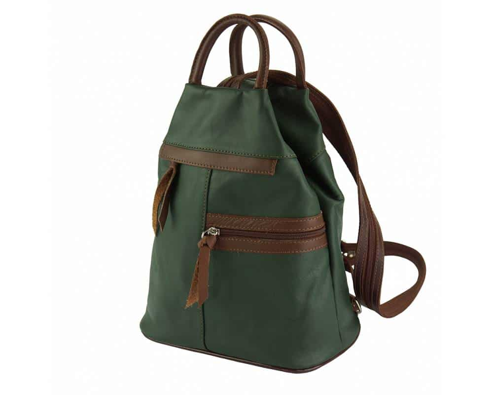dark green brown backpack in soft leather Sorina for woman