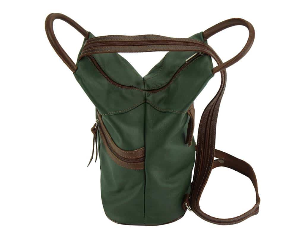 dark green brown backpack in leather Sorina for woman