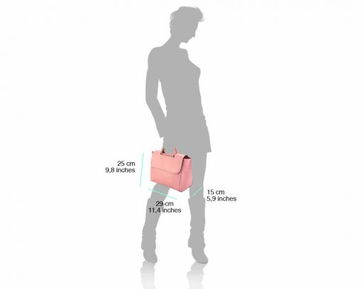 pink italian hand bag for woman in natural leather beatiful