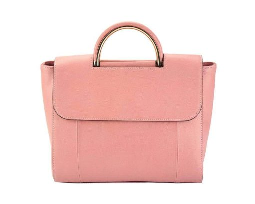pink italian hand bag for woman small in natural leather