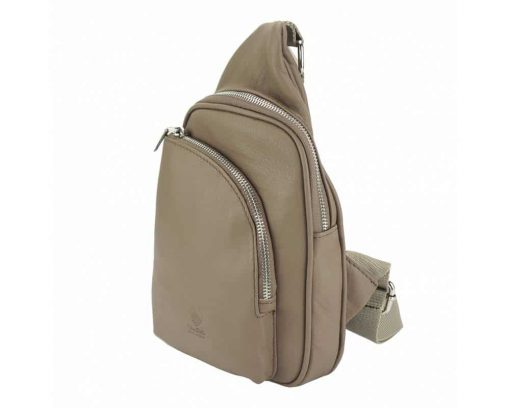 light taupe purse in genuine leather Chira for women