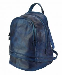 dark blue backpack in vintage natural leather Victoria for woman