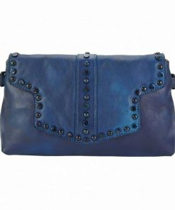 dark blue clutch bag in genuine leather Violeta for woman