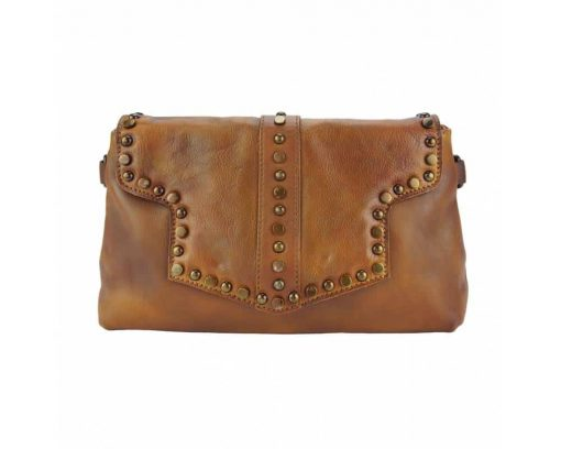 tan clutch bag in genuine leather Violeta for woman