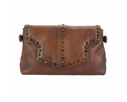 dark brown clutch bag in genuine leather Violeta for woman