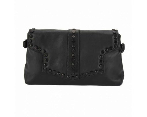 black clutch bag in genuine leather Violeta for woman