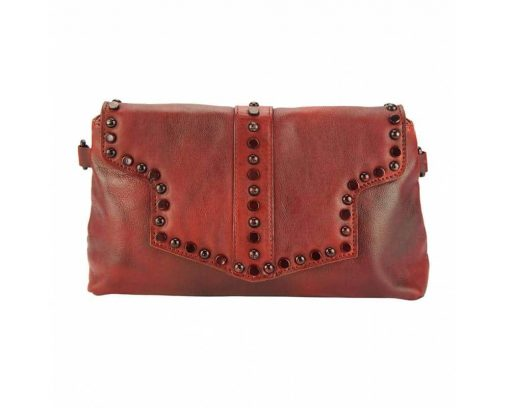 dark red clutch bag in genuine leather Violeta for woman