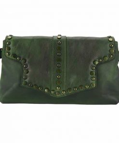 dark green clutch bag in genuine leather Violeta for woman