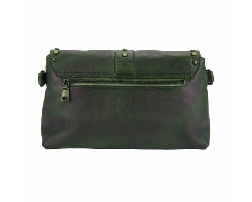 dark green clutch bag in leather Violeta for woman