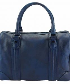 dark blue handbag in soft vintage leather Taisa unisex